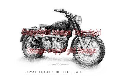 Royal Enfield Bullet Trail Poster 42cm x 30cm for sale by the Original Artist
