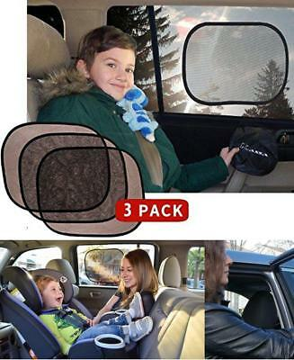 Baby Car Side Window Sun Shade By Kassa (Black - 3 Pack) - Upf 30 Protection For