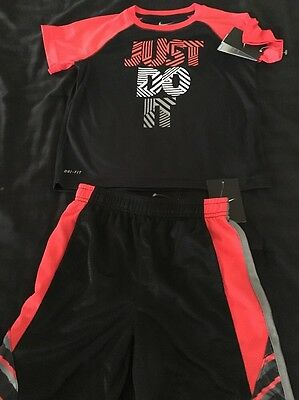 NIKE BOY'S Clothing Size 6 FIT-DRY Athletic Black/Red Outfit 2 set Short/Shirt