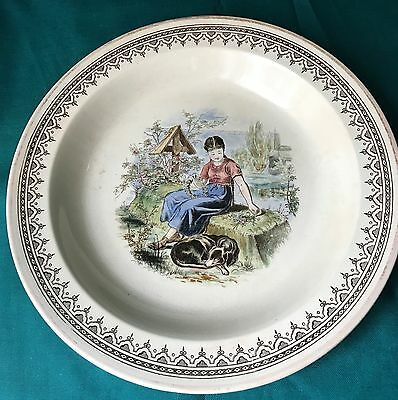 """Aesthetic Transferware Bowl - """"Series Ware"""" with Girl & Dog"""