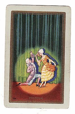 """U.S. NARROW NAMED PERIOD THEATRE COUPLE """"PROPOSAL"""" Single Vintage Playing Card"""