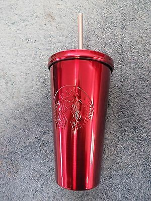 Starbucks Red Stainless Steel Cold Cup Tumbler Metal 16-oz