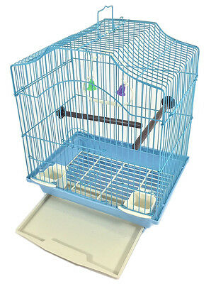 BIRD CAGE KIT Blue Starter Set Perches Swing Feeders Scalloped Top Small Bird