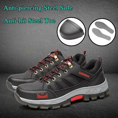 Men's Safety Fashion Shoes Steel Toe Sole Breathable Work Boots Hiking US stock