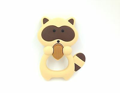 Raccoon Silicone Teether, Brown Raccoon Silicone Teething Toy,  Baby Teether