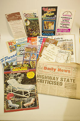 Vintage QLD NSW Brisbane Gold Coast Tweed Travel Tourist Brochures & Newspaper
