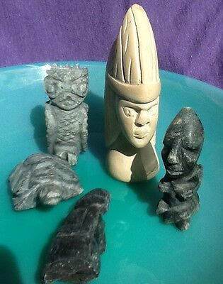 Antique Stone Carved Figures Pre-Columbian Mayan/Olmec Jade Ancient Artifacts