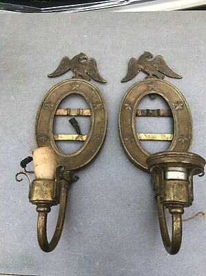 Pair Antique Brass Sconces Eagle Top Stars Electrified Low Start