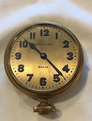 Antique Vintage Beautiful Waltham 8 Day Classic Car Clock
