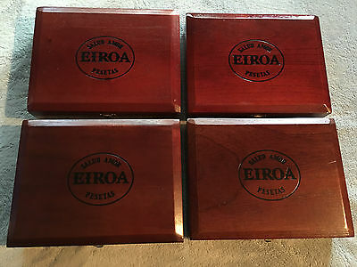 Lot Of 4 Eiroa Two Toned 54 X 6 Cigar Boxes Wooden Wood Guitar Craft Box Clasp