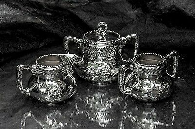 Meriden Co Silverplate Quadruple Plate Dragon Handle Tea Set Sugar Creamer Waste