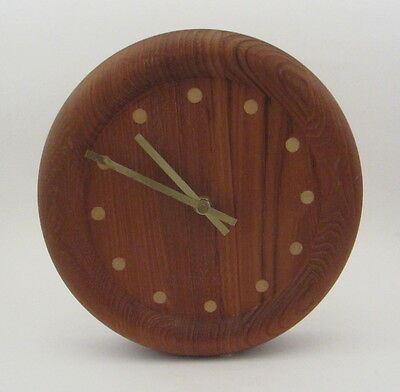 Mid-Century Danish Modern Inlaid Teak Wall Clock