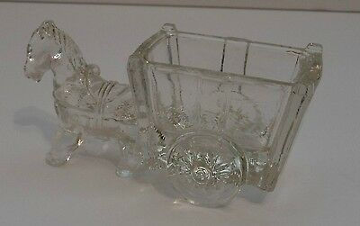 Vtg. Small Clear Glass Candy Container/ Toothpick Holder - Donkey/ Horse & Cart