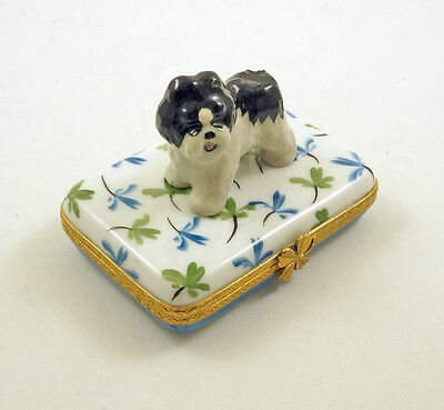 New French Limoges Trinket Box Cute Shih Tzu Dog Puppy On Clover Leaves
