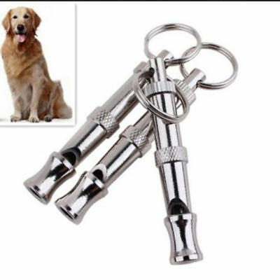 Adjustable Sound Key Chain Pet Dog Stainless Steel Whistle Puppy Training Collie