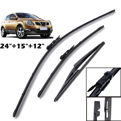 Front Rear Windshield Wiper Blades For Nissan Qashqai J10 2007-2013 2012 2011
