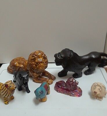 Lot of  Lion Figurines marble ,wooden,glass, and ceramic