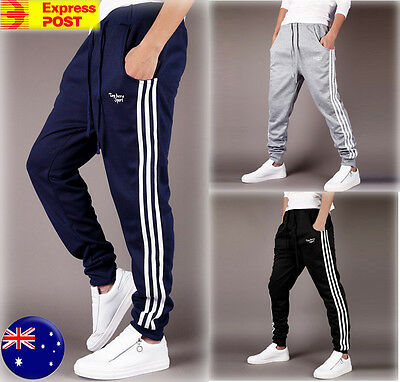 Mens Skinny Sweatpants Track Pants Slim Cuff Gym Trackies Sport Joggers 3 Colors