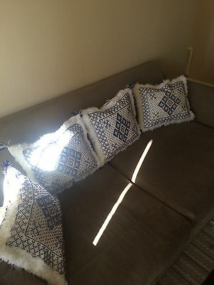 Handmade Moroccan Traditional Wool set of 4 Pillows