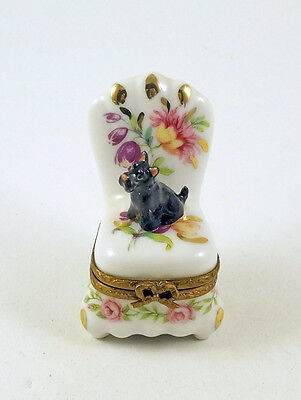 NEW FRENCH LIMOGES TRINKET BOX BLACK SCOTTIE DOG PUPPY on FLORAL CHAIR