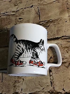 VINTAGE B. KLIBAN Cat mug Kitty cat in tennis shoes Kilncraft England