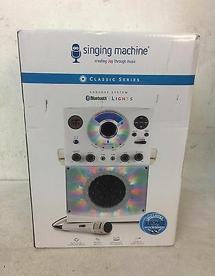 Singing Machine Bluetooth Karaoke System with LED Disco Lights Microphone -White