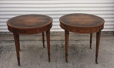Super Pair Henredon Round Mahogany Tooled Leather Top End Tables Nightstands