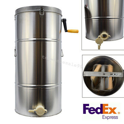 Two 2 Frame Stainless Steel Bee Honey Extractor Beekeeping Honeycomb Drum 【USA】