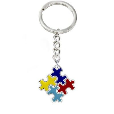Autism Awareness Puzzle Ribbon Keychain with Clasp Closure
