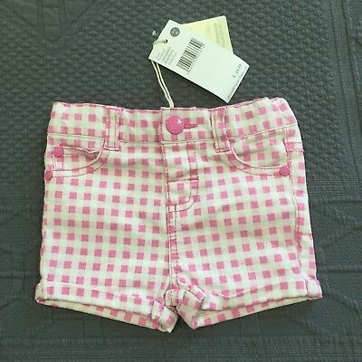 BNWT PUMPKIN PATCH baby girl's pink/white check shorts RRP$24.99 Size 0-3 months