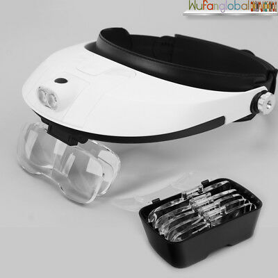 Headband Head-Mounted 2 LED Lamp Light Jeweler Magnifier Glass Loupe 5PCS Lens