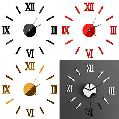 DIY 3D Mirror Surface Large Number Wall Clock Stickers Modern Home Office Decor