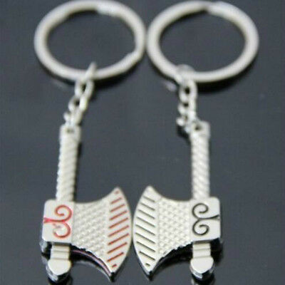 1 pair/set Classic pattern double-sided ax Metal Keychain Charm Couple Key Chain