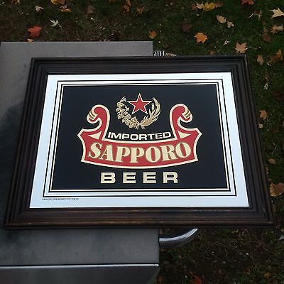 Vintage Imported Sapporo Beer Sign Mirror Bar Decor Man Cave Wood Framed