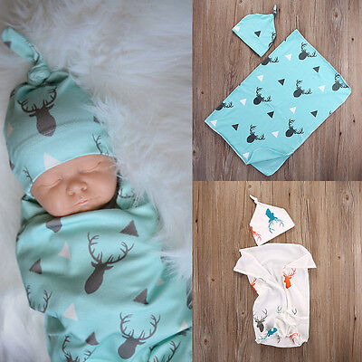 2pcs Newborn Baby Boys Girls Kids Stretch Wrap Swaddle Blanket Bath Towel + Hats