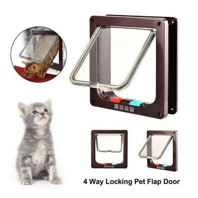 White Frame 4 Way Locking Lockable Pet Cat Small Dog Flap Door S M L SIZE