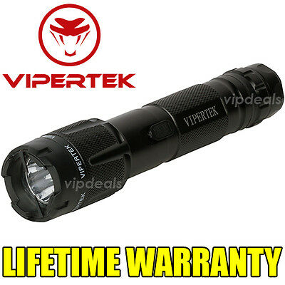 VIPERTEK VTS-T03 Metal Police 20 BV Stun Gun Rechargeable LED Flashlight Black
