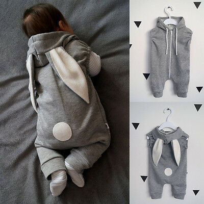 Newborn Baby Girls Boys Rabbit 3D Ear Romper Jumpsuit Bodysuit Outfits Clothes