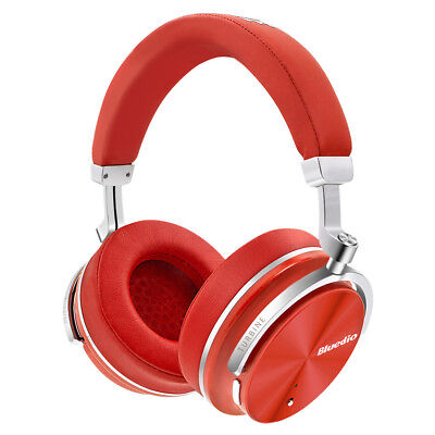 New Bluedio T4S Active Noise Cancelling Bluetooth 4.2 Stereo Headset Red Mic
