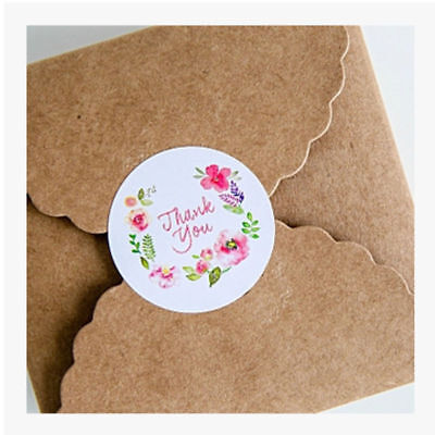 100Pcs Round Paper Labels 'THANK YOU' Candy Food Bag Craft Stickers Seals Floral