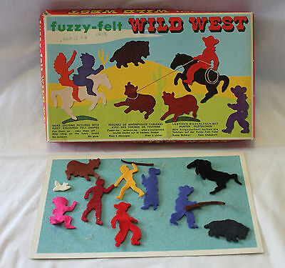 VINTAGE 60's FUZZY FELT WILD WEST ~ Cool Retro Box Artwork ~ Incomplete