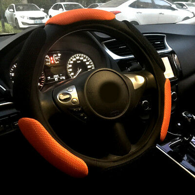 Black Orange Automotive Breathable Mesh Foam Soft Car Steering Wheel Cover 15""