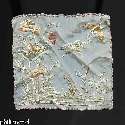 CHINESE c1920s/30s SMALL VINTAGE HAND EMBROIDERED SILK HANDKERCHIEF CRANE BIRDS