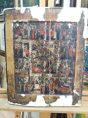 Antique Ortodox Russian Icon 17th Century Resurrection Of Christ With 13 Scenes