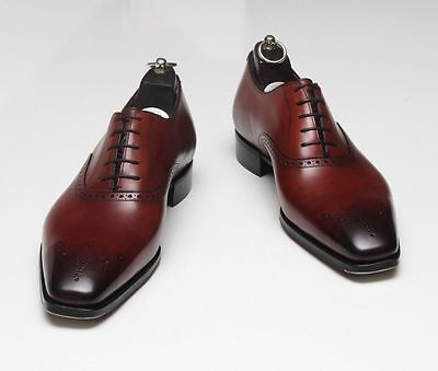 NEW HANDMADE MEN Formal Leather Shoes, Men Maroon Color