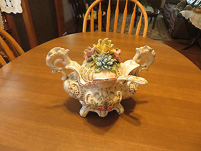 Capodimonte Italy Porcelain Large Handle Floral Covered Soup Or Serving Bowl