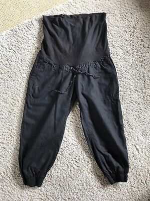 H & M Black Maternity Cropped Trousers Size 12