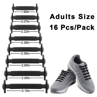 Black Elastic Lacing System Laceless Shoes Slip On Shoe Laces Hickies 16 New Hot