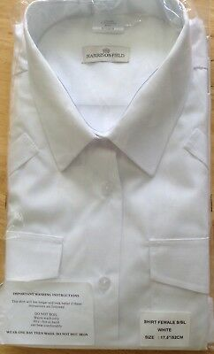 """Harrison Field Ladies White H//S Security Shirt Bust 52/"""" New. Collar 17.5/"""""""