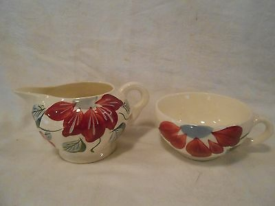 Vintage Blue Ridge Southern Pottery Poinsettia Creamer and Coffee Cup